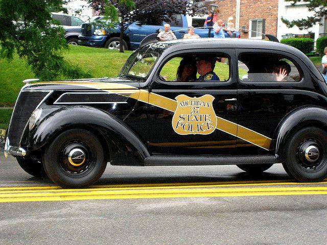 vintage michigan state police car by exdeadman, via Flickr