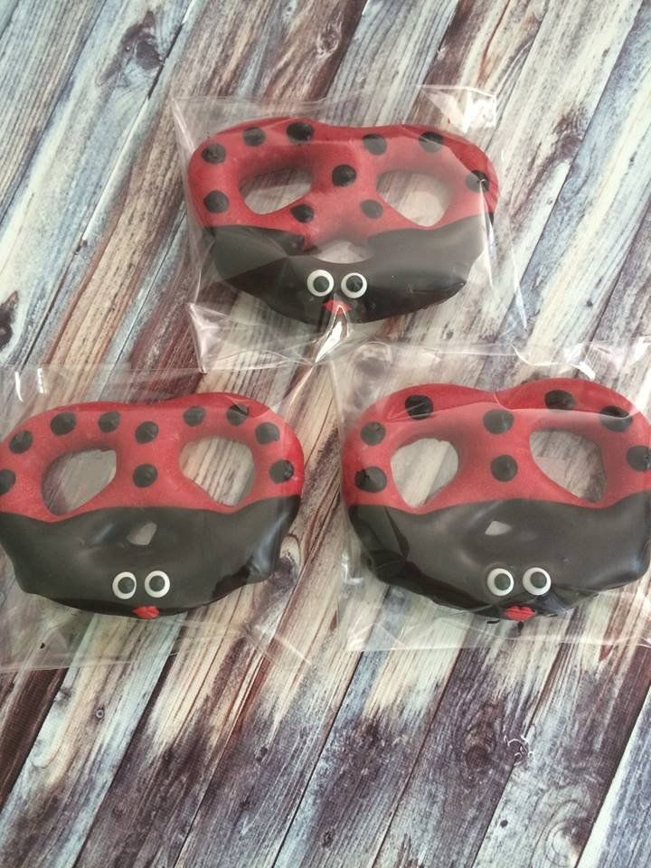 12 Chocolate Covered Ladybug Pretzels Birthday Baby Shower Favors Sweets Table Lady Bug