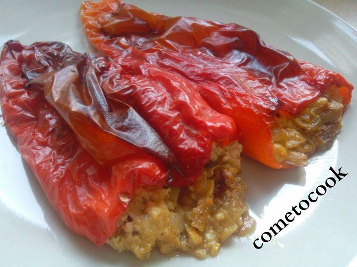 Come to cook: Πιπεριές φλωρίνης γεμιστές με φέτα και πράσο