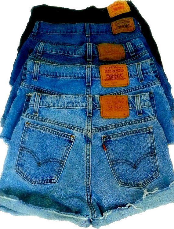 High Waisted Denim Shorts on Etsy, $10.00