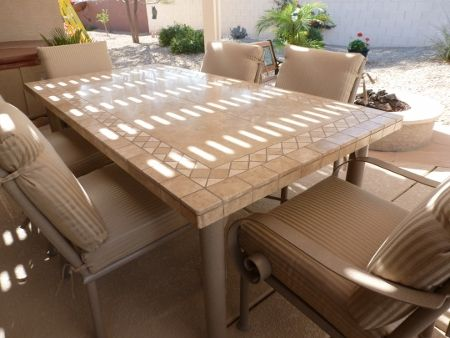 Travertine Outdoor Dining Table Chairs