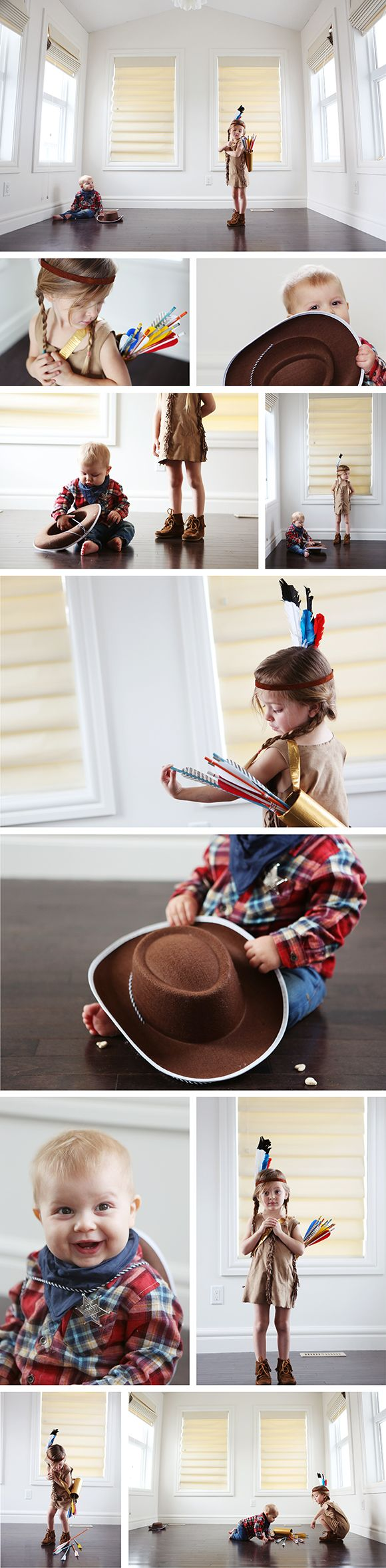 halloween costumes- little cowboy and little indian girl