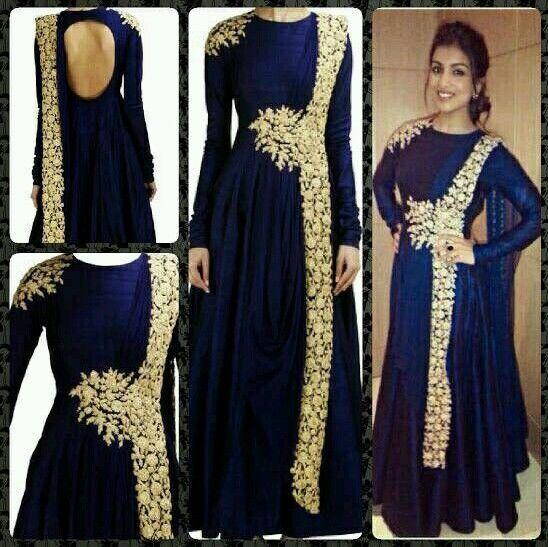 Real Pics- Indian, Pakistani Bollywood Designer Bridal  Dark Blue Suit, Anarkali