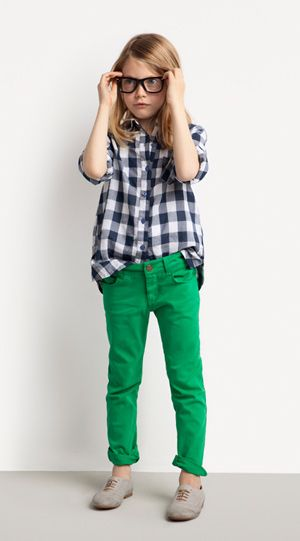 green skinnies with check shirt