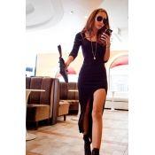 $9.99 Fashion Asymmetrical O neck Long Sleeve Knitting Knee Length Dress