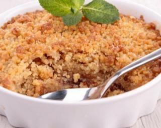 Crumble léger aux pommes On avec de la farine de sarrasin et moins 30g de sucre c'est tout aussi bon. Et moi je rajoute de la compote de pomme faite maison sans sucre dans le fond pour plus de gourmandise.