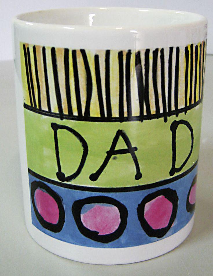 "Personalised Ceramic Mug for Dad, Mum or Grandparents #Father'sDay #Gift #Mug ""Art"