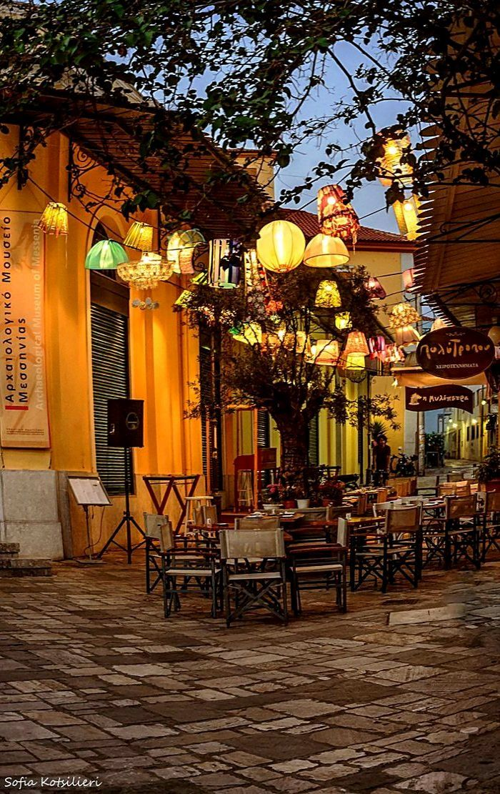 Restaurant in an alley - Old Town of Kalamata, Greece   by Sofia Kotsilieri