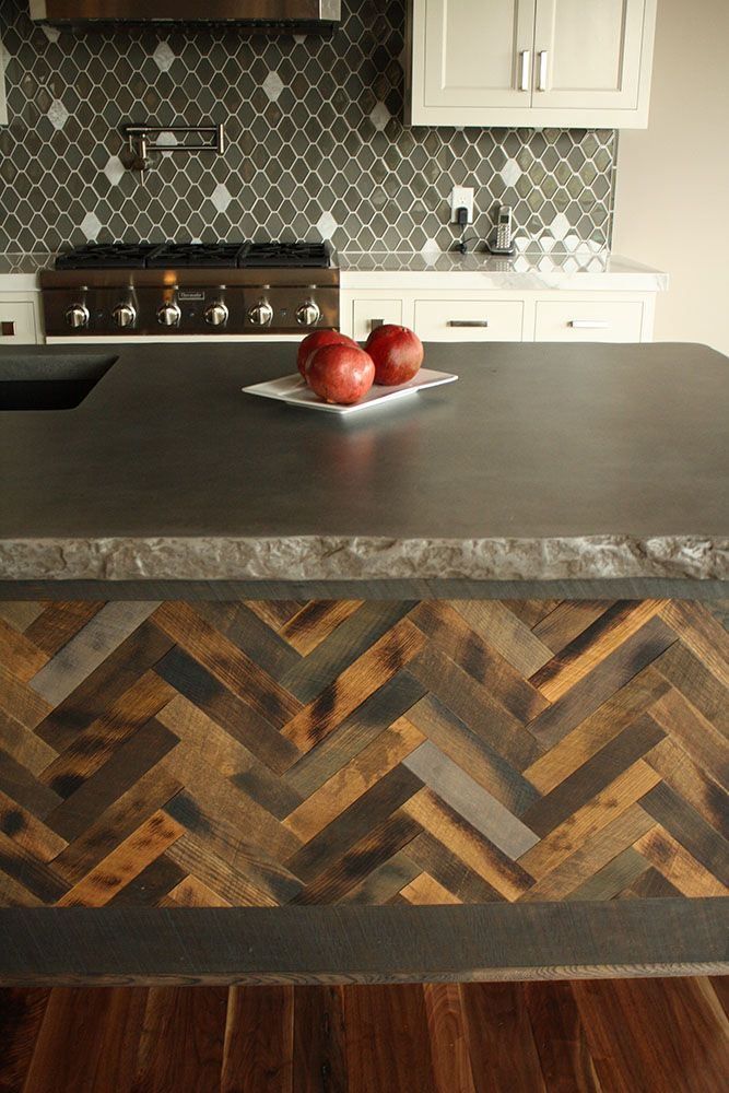 "Breakroom Countertop idea - 2"" thick broken rock edge concrete island top with herringbone barn wood face"