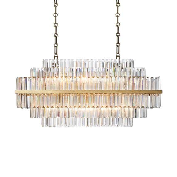Terrific Vienna 32 Linear Crystal Chandelier Antique Brass Home Interior Design Ideas Tzicisoteloinfo