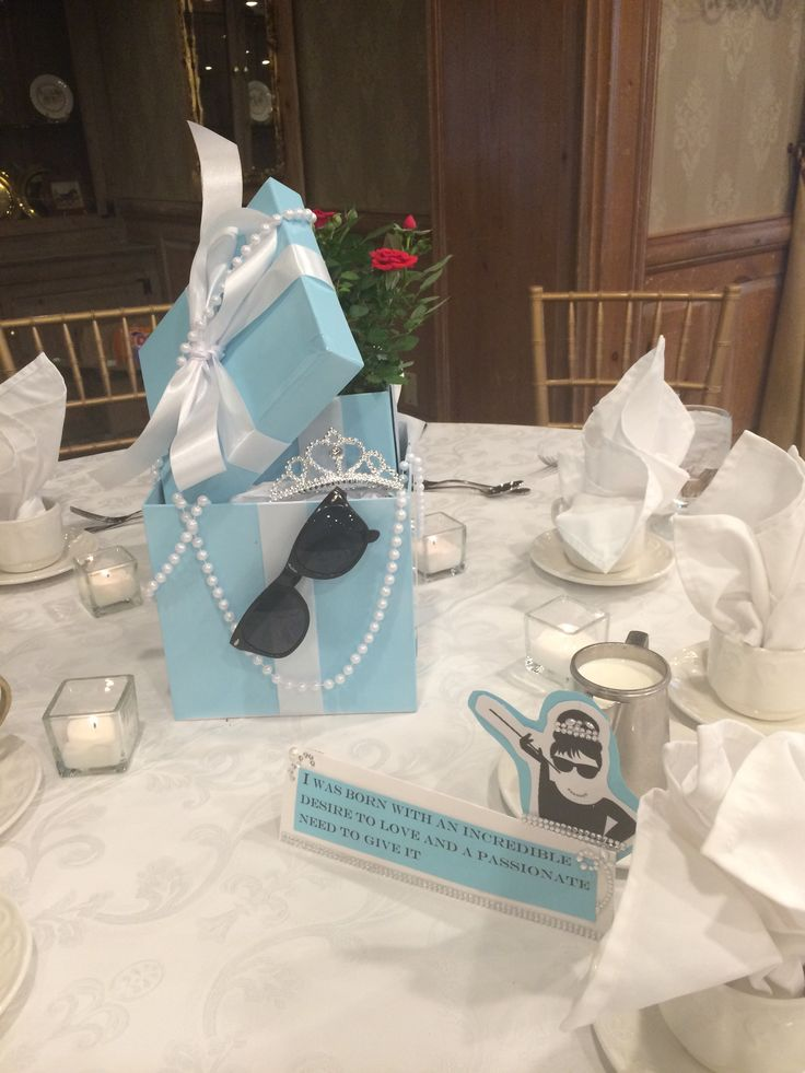 How many people would pay good money for these awesome Breakfast at Tiffany's centerpieces for a bridal shower??