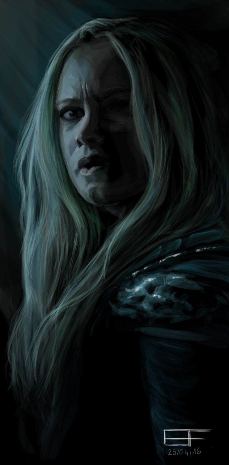 """Clexa & Lexark FanArt — mattcunning:  [Digital speed-painting - Photoshop CS6 - Wacom Pen and Touch - 1h30] A little painting of Clarke """"I'm so badass"""" Griffin from a screen-shot of Demons (3x12) in The 100. I love her scary face under a blue light."""