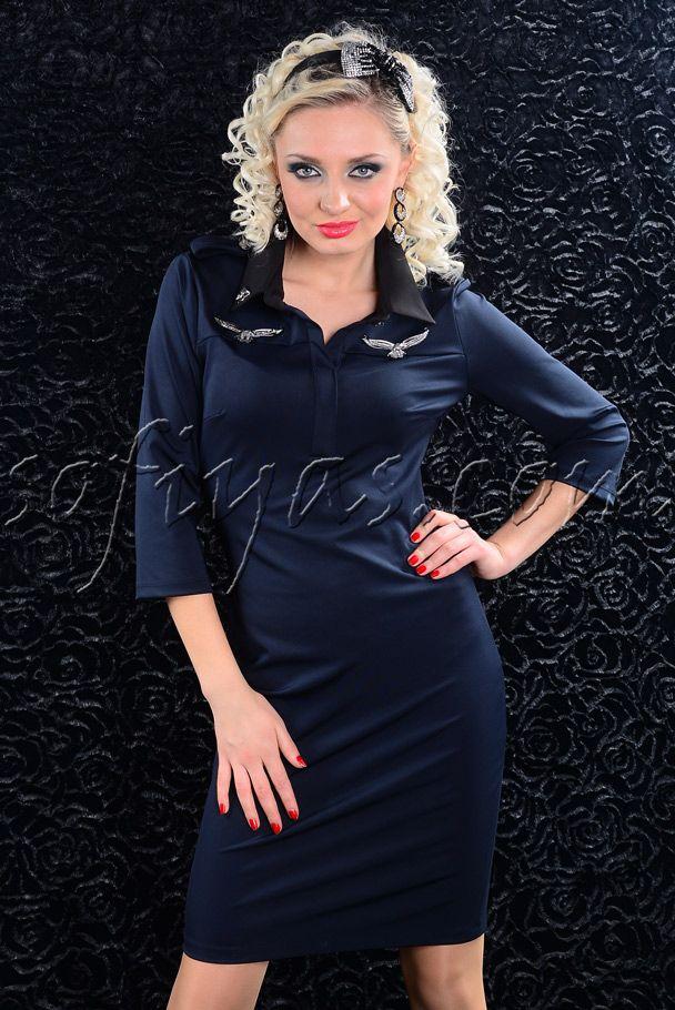 Платье в стиле милитари. Цвет синий » Платья » СТИЛЬНАЯ МОДНАЯ женская одежда — Sofiya.S