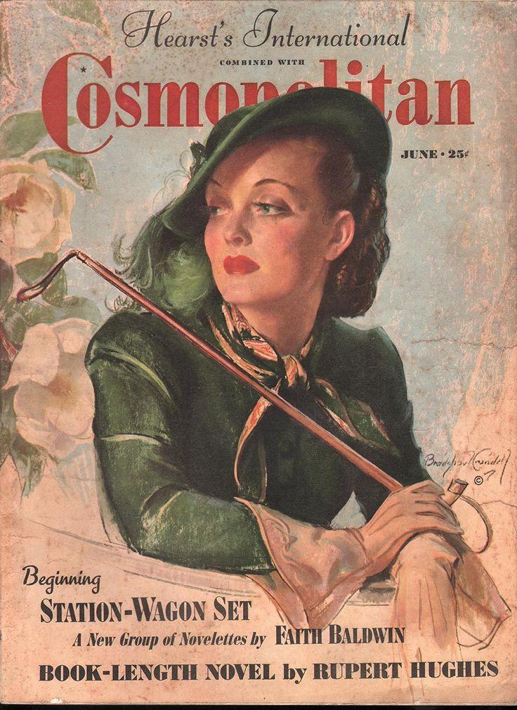"Cosmopolitan magazine, JUNE 1938 Model: Bette Davis promoting film ""Jezebel""  Artist: Bradshaw Crandell"
