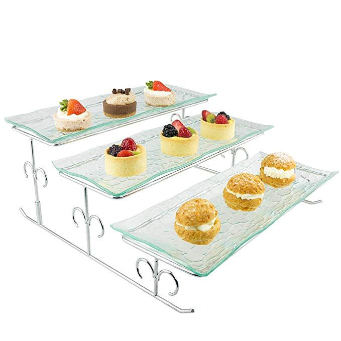 3 Tier Server Tiered Serving Platter Stand Trays Perfect For