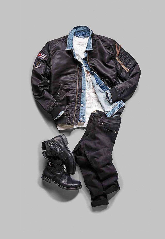 Punk inspired look: black leather boots, black jeans, white tee, denim jacket, black bomber | JACK & JONES #punk #menstyle