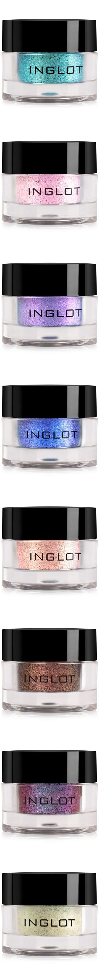INGLOT AMC Pure Pigment Eye Shadow  ~ This is just a sampling of the many stunning shades available of  these highly concentrated loose colored powder that ranges from subtle to ultra-intense effects depending on application. The product contains sponge gourd oil and almost 90% pure pigment. Can be mixed with DURALINE to create liquid forms of all pigment colors.
