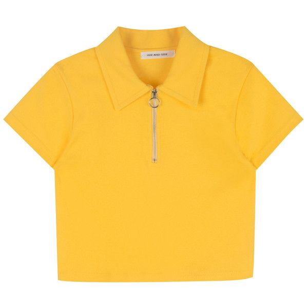HIDE AND SEEKZip Neck Cropped Polo Shirt | MIXXMIX ($26) ❤ liked on Polyvore featuring tops, crop top, shirts, yellow polo shirt, short sleeve crop top, yellow crop top, denim crop top and polo shirts