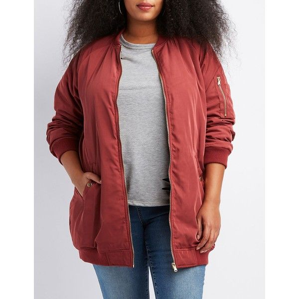 Charlotte Russe Longline Bomber Jacket ($15) ❤ liked on Polyvore featuring plus size women's fashion, plus size clothing, plus size outerwear, plus size jackets, dusty rose, women's plus size jackets, plus size red jacket, women's plus size bomber jacket and zipper jacket