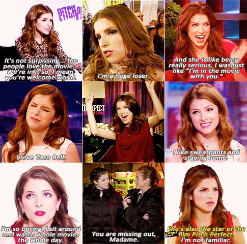 """Anna Kendrick- """"I like sweatpants and staying at home."""""""