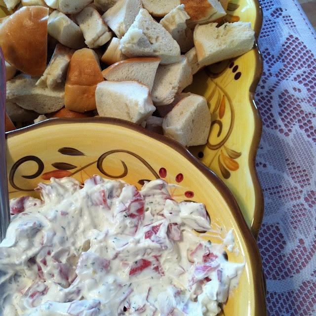 Bagel dip: 1 cup Sour Cream  1 cup Mayo  Minced Onion  3 packages Corned Beef  1 Tbsp. Dill Weed  Season Salt to taste   Bagels, cut