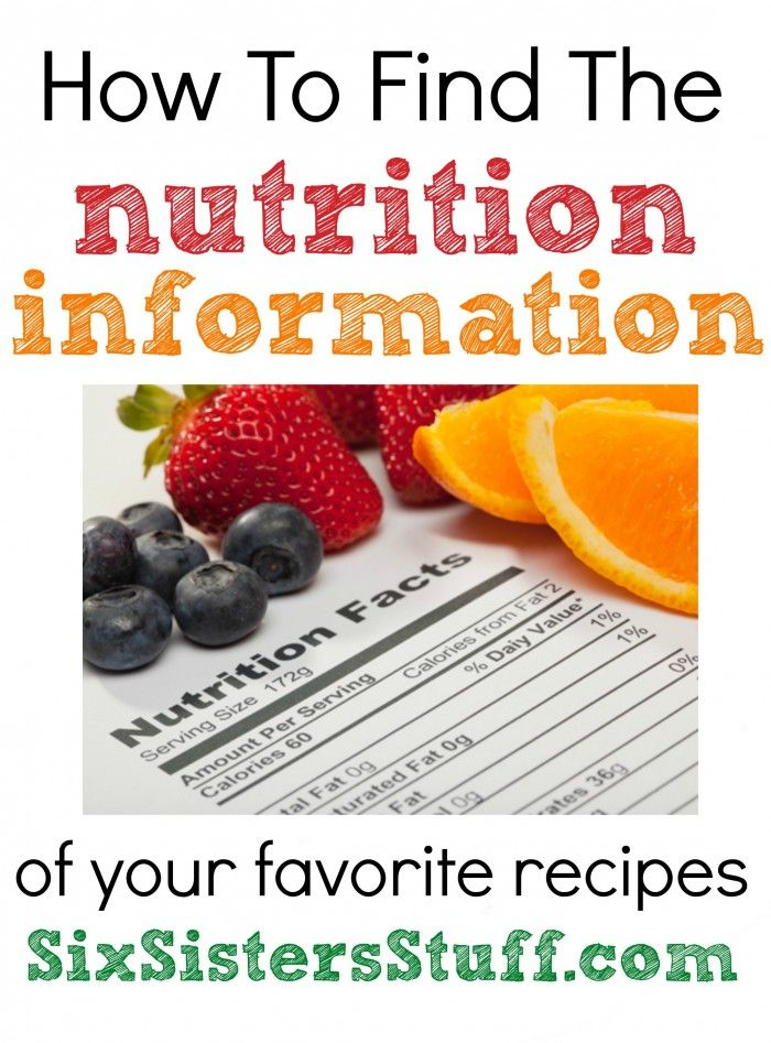 How to find the nutrition information for your favorite recipes from SixSistersStuff.com. #health #nutrition