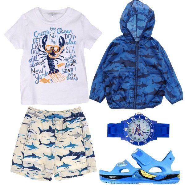 Look pensato per una gita in barca per un bimbo appassionato di pesci, per questo oltre al boxer da mare ho pensato ad una giacca antivento ed antiacqua. Il tema dei pesci è presente anche sulla maglietta, sull'orologio ed i sandali in gomma.