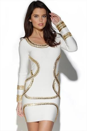 Just had to pin this White and Gold Crystal Embellished Dress from www.vestryonline.com/