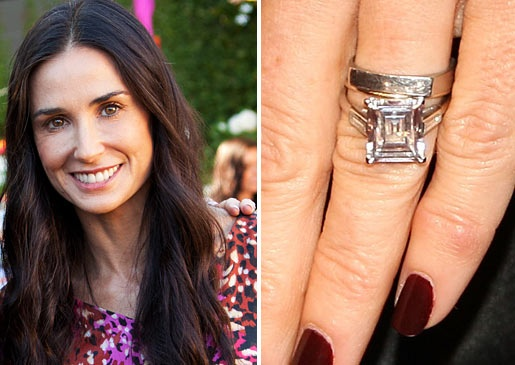Silver Screen Diva Demi Moore And TV Playboy Ashton Kutcher Mightve Called It Quits But Her Emerald Cut Diamond Ring Still Sparkles