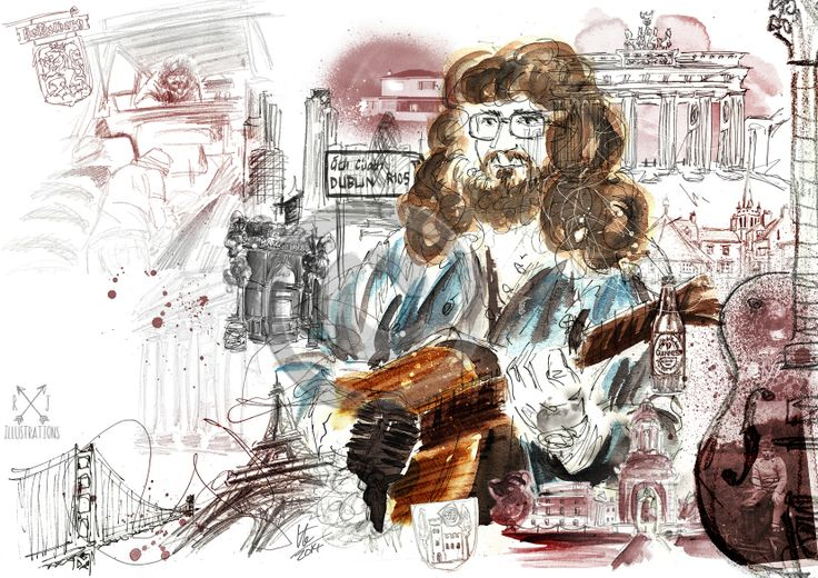 A #birthday commission mixing portraits with special places the client had traveled to #art #illustration #music #ireland #uk #travel #usa #guitarist #memory #ruthjoyceart