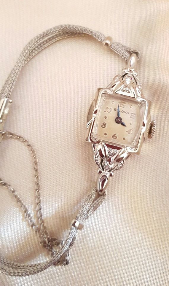 Antique 1953 Ladies Bulova 21 Jewel Wrist Watch by Pinkdecocottage