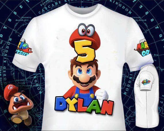 e2acc2f3eaa T-Shirt Super Mario Odyssey For you party - CUSTUMIZABLE - Super Mario  Odyssey party We deliver in RECORD time in less than 4 hours + FREE Thanks  you TAGS ...