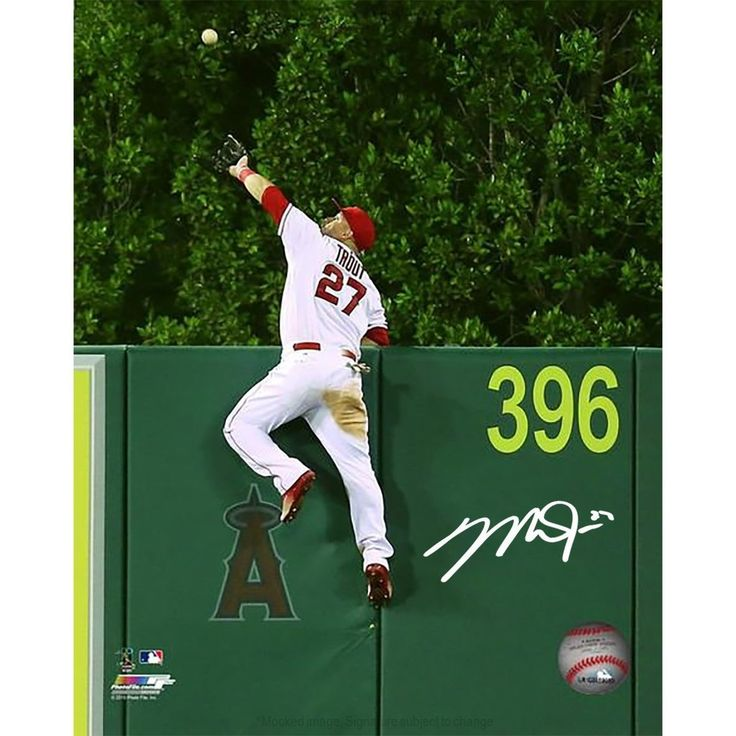 Mike Trout Los Angeles Angels Signed 'Climbing The Wall
