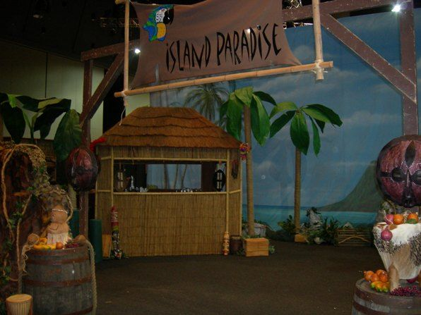 Tiki and island themed decor vbs decorations pinterest for Beach hut decoration items
