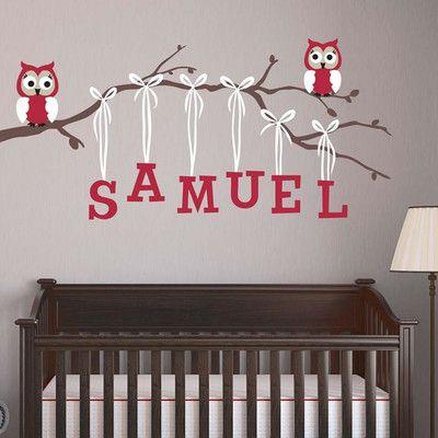 Alphabet Garden Designs Boy Owl Branch Wall Decal Branch Direction: Left, Decal Fabric Color: Blue, Vinyl Color: Hot Pink
