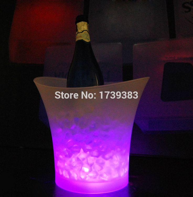Frete grátis 5 litros impermeável de plástico balde de gelo LED cor mudar, 5L bares discotecas LED balde de champanhe alishoppbrasil