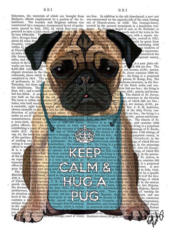 Hug a Pug Dictionary Print pug print poster decor dog by FabFunky, $15.00