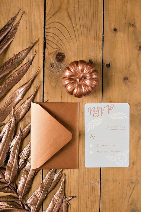 Gorgeous copper hued invitations - perfect for a fall wedding. Source: Want That Wedding #copper #weddingstationery
