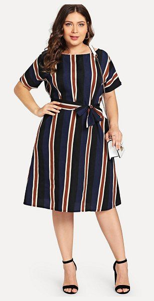 7ed01a89d SheIn Colorblock Striped Dress in 2019     Stripes     Dresses ...