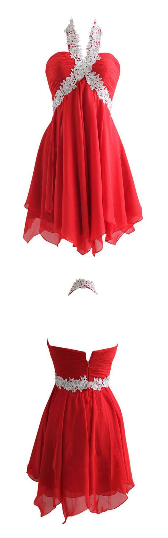 Sexy A-line Halter Short Empire Red Chiffon Homecoming Dress with Appliques,Fashion Homecoming Dress,Sexy Party Dress,Custom Made Evening Dress