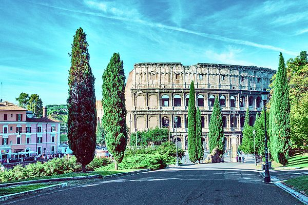 View of the back of the Coliseum early on a Sunny summer morning by George Westermak,  The Colosseum or Flavian amphitheater — the amphitheater, the monument of architecture of Ancient Rome, the most famous and one of the grandest buildings of the Ancient world, preserved to our time. Located in Rome, in the hollow between the Esquiline, Palatine and Zelewski hills. #George Westermak#travel#FineArtPrints#landscape#Italy#Photography