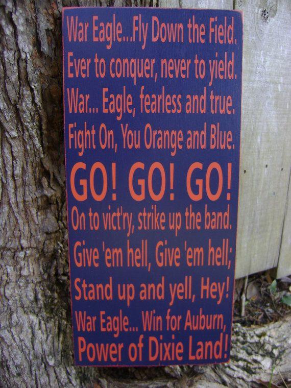 Auburn Fight Song Subway Style Sign, Auburn University, War Eagle, University Fight Song