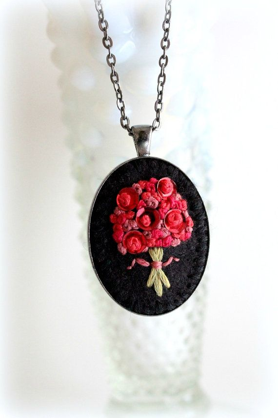 Hand Stitched Embroidery. Embroidered Jewelry. by sewhappygirls