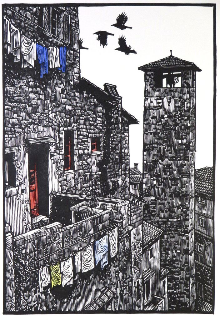 The Tower ~ Linocut, 12 x 17.25 inch ~ Rik Olson. Incredible mark-making and detail...