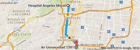 Mapa de Hospital Angeles Mocel, Gelati 29, Miguel Hidalgo, San Miguel Chapultepec I Sección, 11850 Ciudad de México, D.F. a Av Universidad 1391, Axotla, Ciudad de México, D.F.