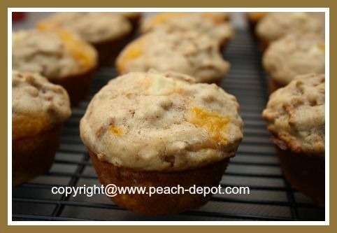 HEALTHY Peach Muffins with Cream Cheese inside!