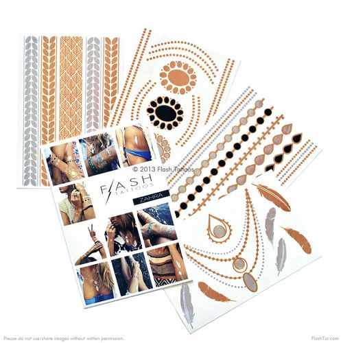 Obsesionado con la colección chic sin esfuerzo Zahra!  Cuatro hojas equipado con más de 31 de oro metálico, plata y tatuajes temporales negros!  #FLASHTAT @FlashTattoos