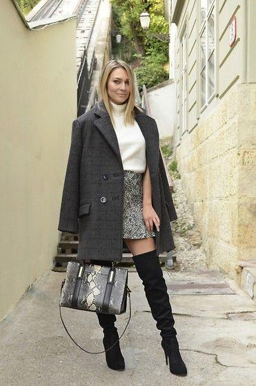 Get this look: http://lb.nu/look/8481147  More looks by Sonja Kovac: http://lb.nu/xoxosonja  Items in this look:  Robert Sever Design Oversized Coat, Zara Turtleneck, Zara Skirt, Lesilla Over The Knee Boots, Calvin Klein Bag   #classic #elegant #retro