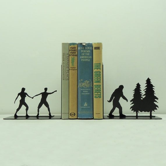 Bigfoot Sasquatch Metal Art Bookends - This Etsy shop has a great selection of bookends and wall hooks