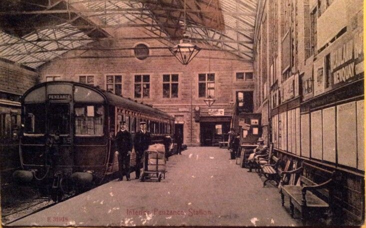 INTERIOR, PENZANCE STATION | Cornwall: Historical photograph of a Great Western Railway motor carriage     ✫ღ⊰n